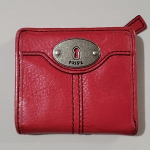 Fossil Pink Leather Small Bi-Fold Wallet